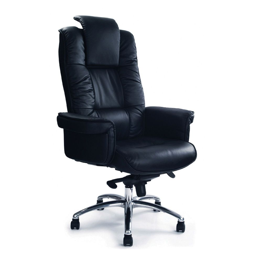 Hercules Black Executive Office Chair. Black Leather Faced Chrome Base
